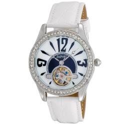 August Steiner Women's Crystal Skeleton White Strap Watch