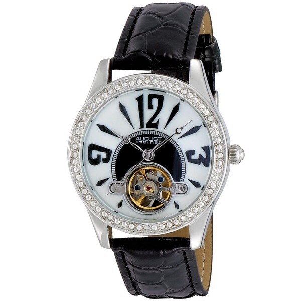 August Steiner Women's Crystal Skeleton Black Strap Watch