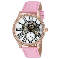 August Steiner Women's Crystal Skeleton Automatic Strap Watch