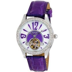 August Steiner Women's Crystal Skeleton Strap Watch