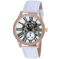 August Steiner Women's Crystal Skeleton Water-Resistant Automatic Strap Watch