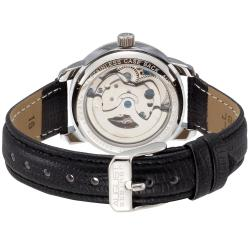August Steiner Women's Skeleton Automatic Black Leather-Strap Watch