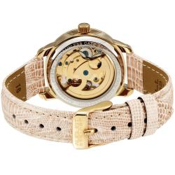 August Steiner Women's Skelton Automatic Beige Leather-Strap Watch