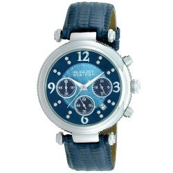 August Steiner Women's Crystal MOP Chronograph Blue-Strap Watch with Stainless-Steel Bezel