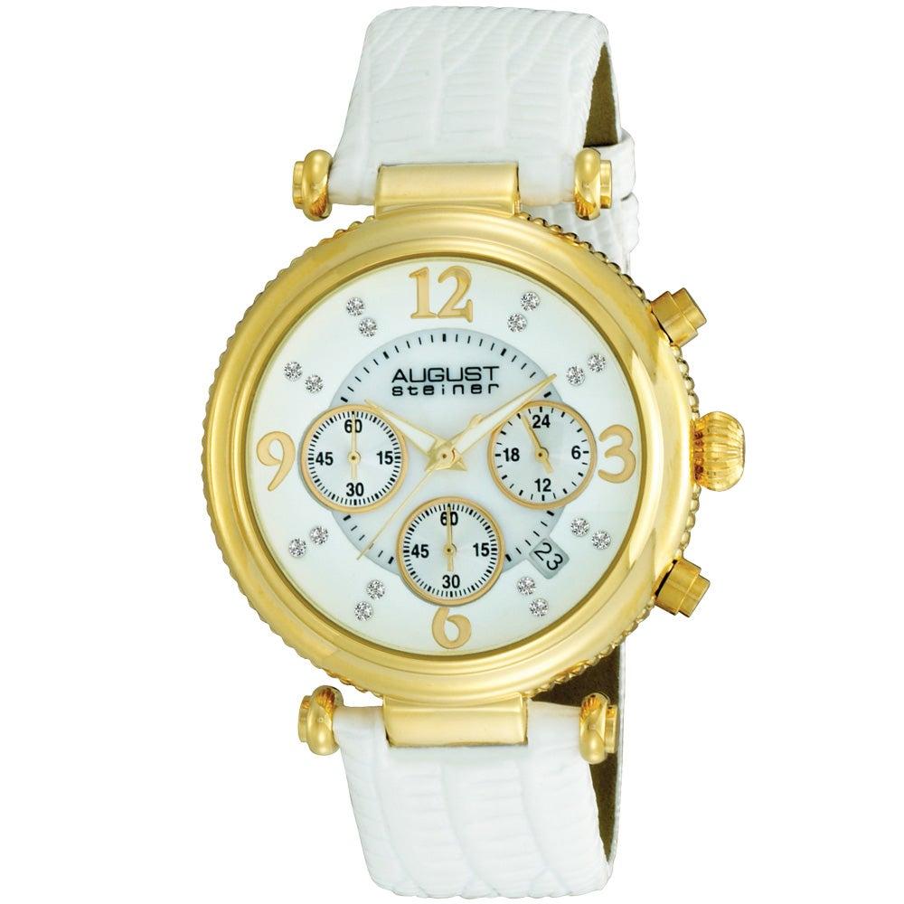 August Steiner Women's Crystal MOP Chronograph White-Strap Watch with Gold Bezel