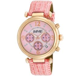 August Steiner Women's Crystal MOP Chronograph Strap Watch