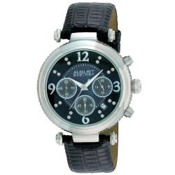 August Steiner Women's Crystal MOP Chronograph Black-Strap Watch with Stainless-Steel Bezel