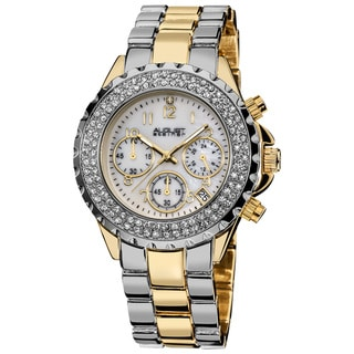August Steiner Women's Two-Tone Crystal MOP Chronograph Bracelet Watch
