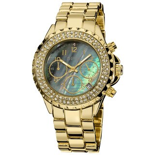 August Steiner Women's Goldtone Crystal MOP Chronograph Bracelet Watch