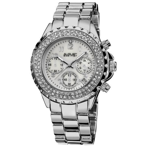 August Steiner Women's Silver-Tone Crystal MOP Chronograph Bracelet Watch