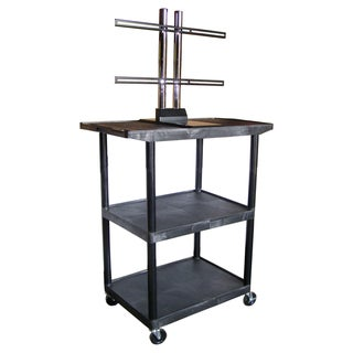 Luxor 48 Inch High Black Open Shelf Plasma/LCD Cart