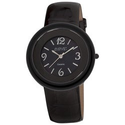 August Steiner Women's Ceramic Case Quartz Leather Strap Watch