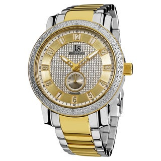 Joshua & Son's Men's Stainless Steel Japanese Quartz Diamond Bracelet Watch