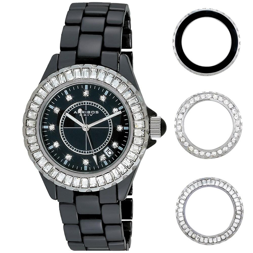 Akribos XXIV Women's Black Ceramic Interchangeable-Bezel Watch