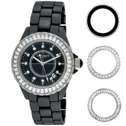 Akribos XXIV Women's Black Ceramic Interchangeable-Bezel Watch