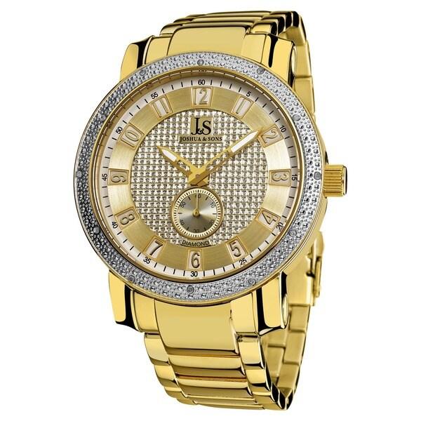 Joshua & Son's Men's Stainless Steel Water-Resistant Diamond Bracelet Watch