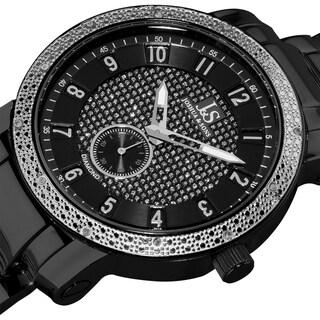 Joshua & Son's Men's Stainless Steel Diamond Black Bracelet Round Watch