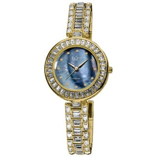 Burgi Women's Mother of Pearl Diamond Bracelet Watch