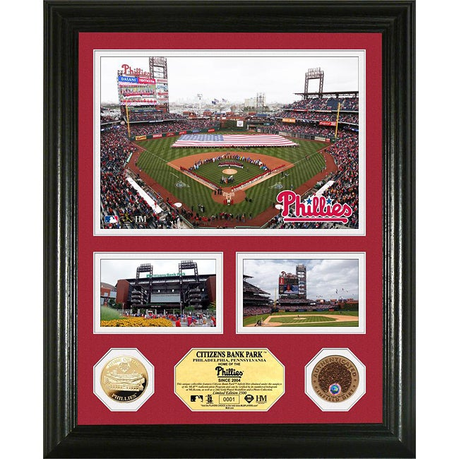 Highland Mint Philadelphia Phillies Citizens Bank Park 'Showcase' Infield Dirt and Coin Photo Mint