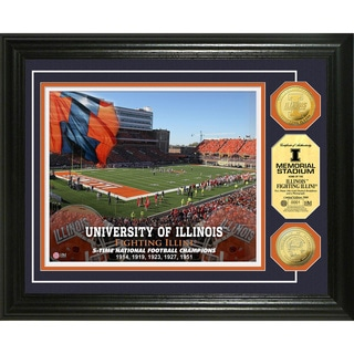 Highland Mint University of Illinois Memorial Stadium 24k Gold Coin Photo Mint