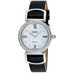 Burgi Women's Swiss Quartz Guilloche Diamond Black Strap Watch