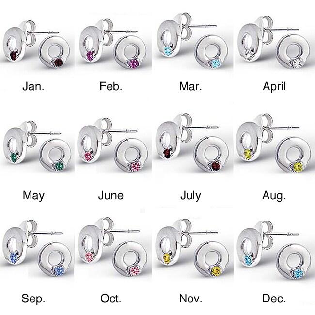 Sterling Silver Semi-precious Birthstone Circle Earrings