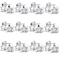 Sterling Silver Semi-precious Birthstone Star Earrings