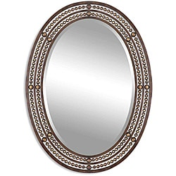 Uttermost Matney Distressed Bronze Metal Oval Framed Mirror