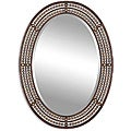 Matney Distressed Bronze Metal Oval Framed Mirror