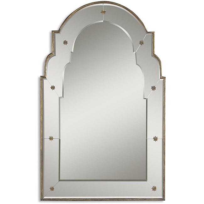 gella antique gold small wood framed mirror
