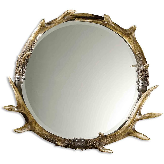 Uttermost Brown/Ivory Round Stag Horn Framed Mirror