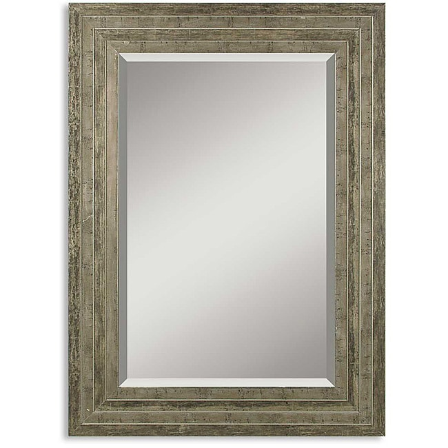 hallmar distressed silver wood framed mirror home