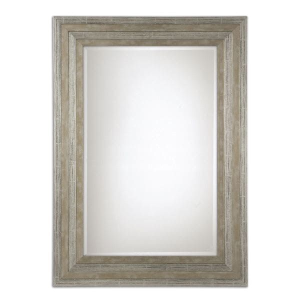 Uttermost hallmar distressed silver wood framed mirror for Silver framed mirrors on sale