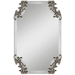 Andretta Rococo Burnished Antique Silver Frameless Mirror