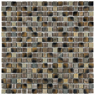 SomerTile Isle Laurentia 11.75-inch Porcelain Mosaic Tiles (Pack of 10)