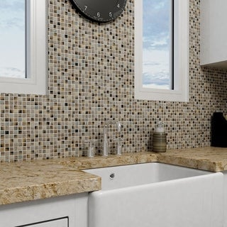 SomerTile 11.75x11.75-inch Isle Laurentia Porcelain Mosaic Wall Tile (Pack of 10)