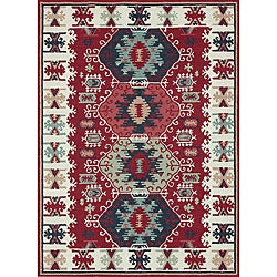 Hand-hooked Rancho Red Rug (7'6 x 9'6)