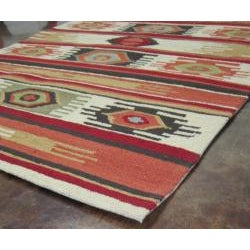 Hand-hooked Rancho Ivory/ Multi Rug (3'6 x 5'6)