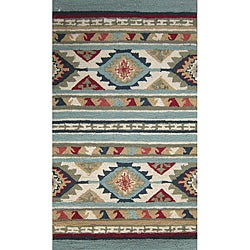 Hand-hooked Rancho Blue/ Multi Rug (2'3 x 3'9)