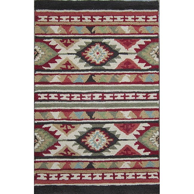Hand-hooked Rancho Spice/ Multi Rug (2'3 x 3'9)