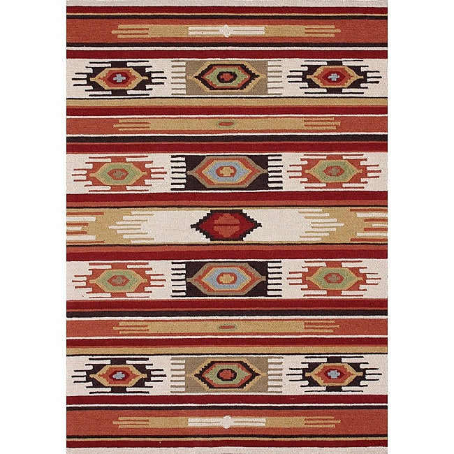 Hand-hooked Rancho Ivory/ Multi Rug (5' x 7'6)