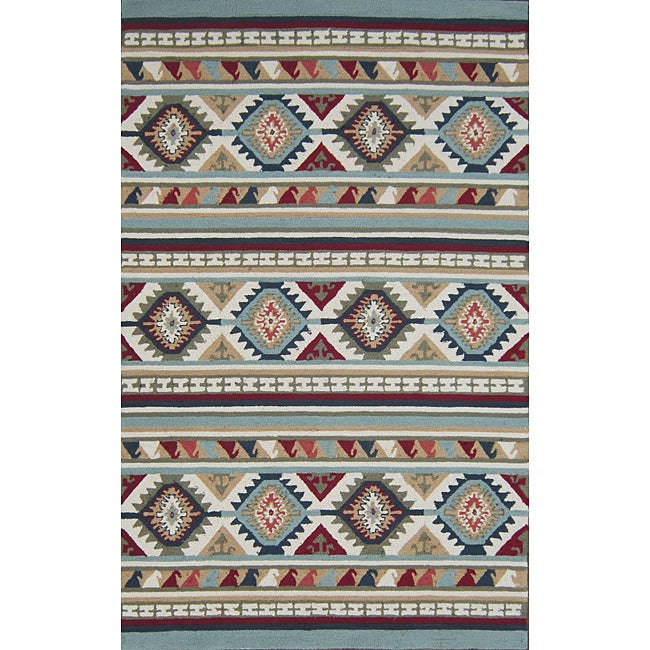 Hand-hooked Rancho Blue/ Multi Rug (7'6 x 9'6)