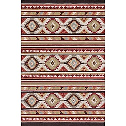 Hand-hooked Rancho Spice/ Multi Rug (5' x 7'6)