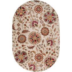 Hand-tufted Beige Sacra Floral Wool Rug (6' x 9')