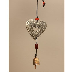 Copper and Glass Filigree Heart Hanging Art (India)