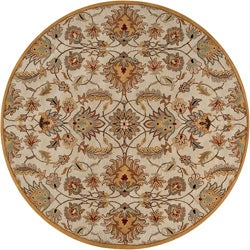Hand-tufted Gold Snoop Wool Rug (6' Round)
