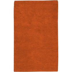Hand-woven Hominem Rust Colorful Plush Shag New Zealand Felted Wool Rug (4' x 10')