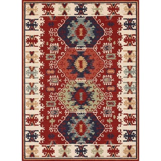 Hand-hooked Rancho Red Rug (5' x 7'6)