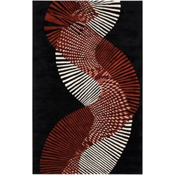 Hand-tufted Contemporary Black/Red Striped Black Artist Studio New Zealand Wool Abstract Rug (9' x 1