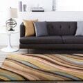 Hand-tufted Contemporary Multi Colored Striped Hercules New Zealand Wool Abstract Rug (9' x 13')